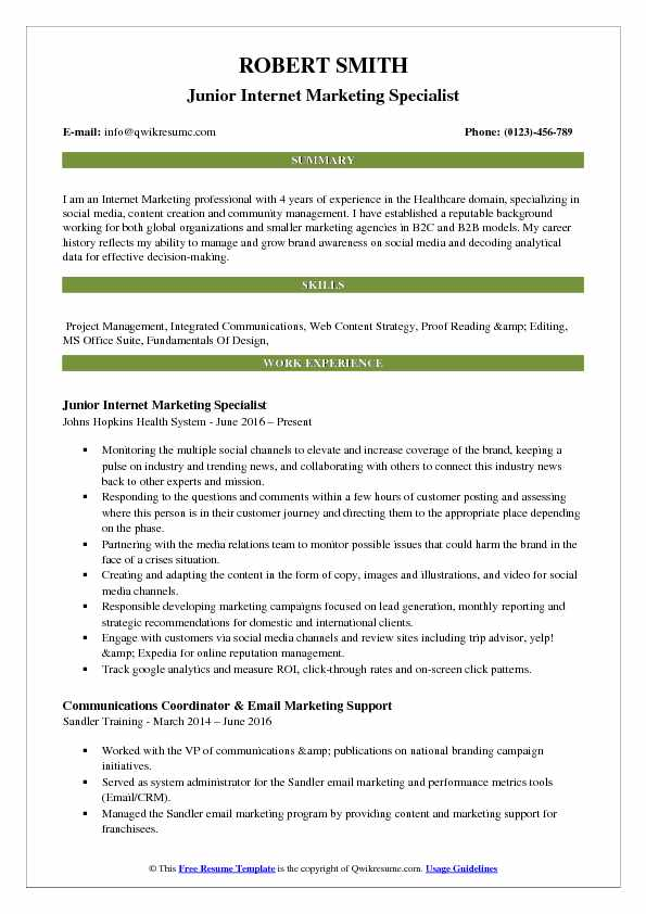 Junior Internet Marketing Specialist Resume Template