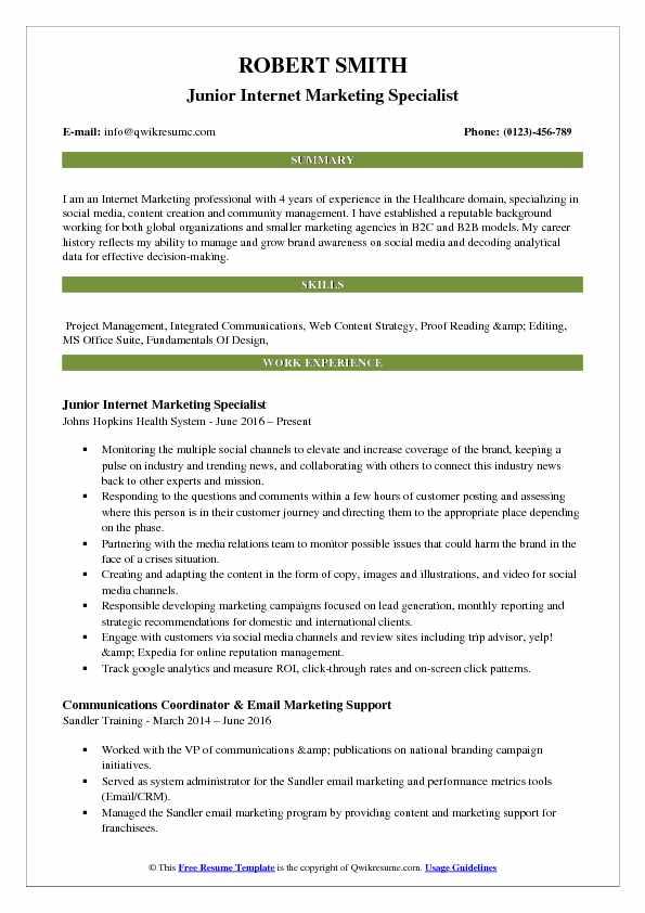 Junior Internet Marketing Specialist Resume Format