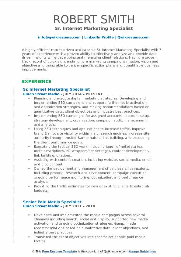 Sr. Internet Marketing Specialist Resume Model