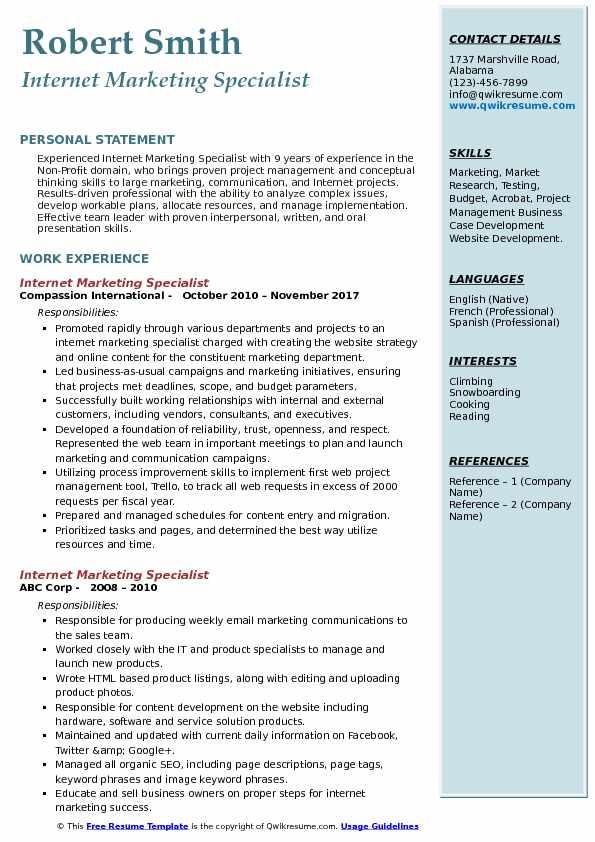 Internet Marketing Specialist Resume Format