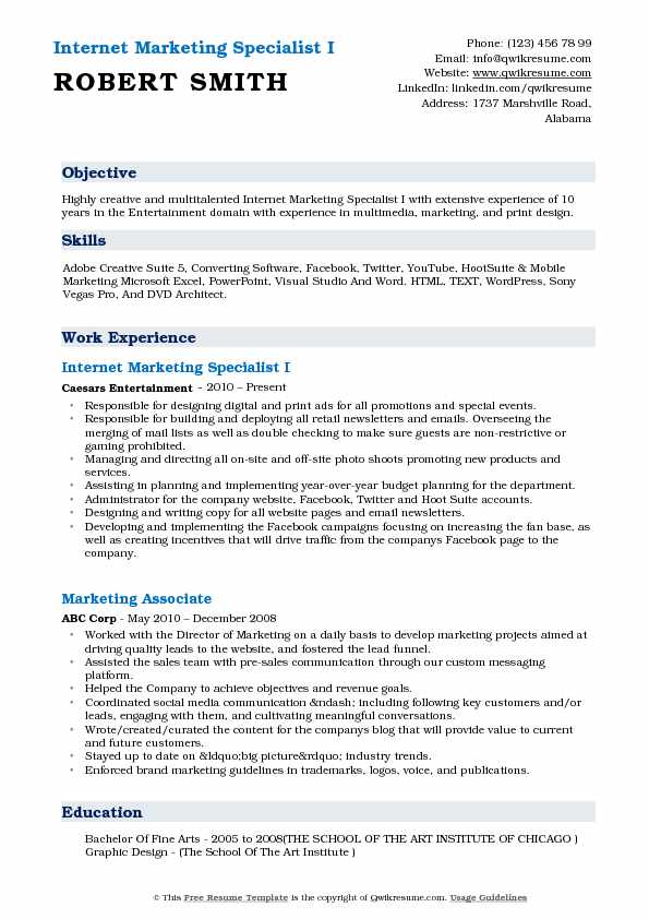 Internet Marketing Specialist I Resume Template