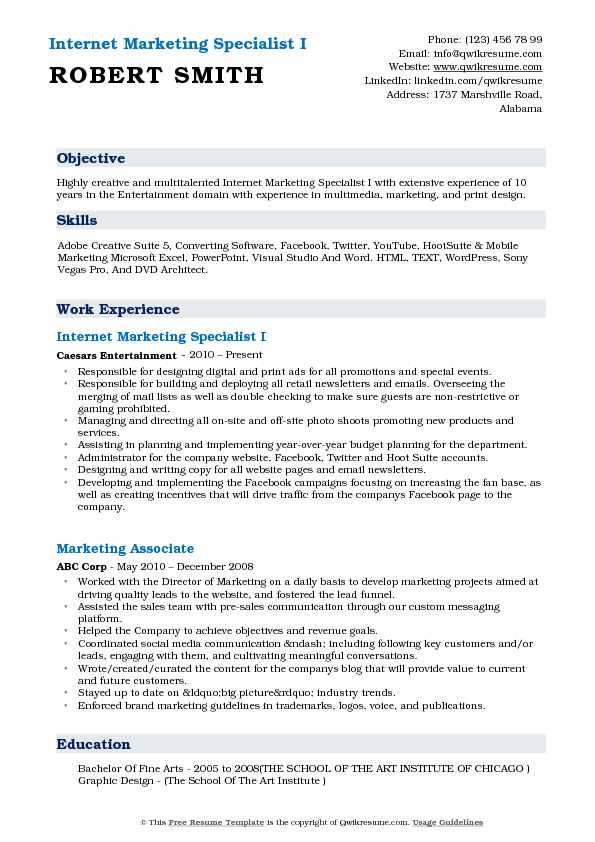 Internet Marketing Specialist I Resume Sample