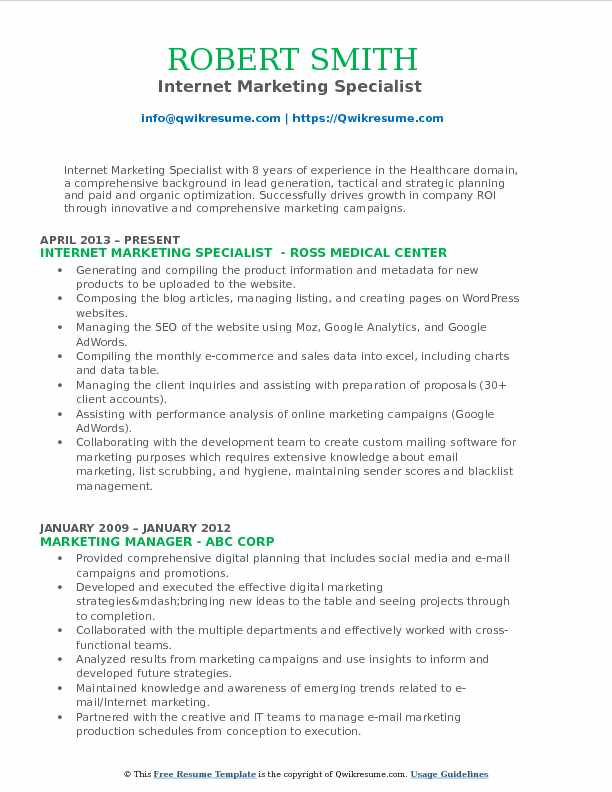 Internet Marketing Specialist  Resume Format