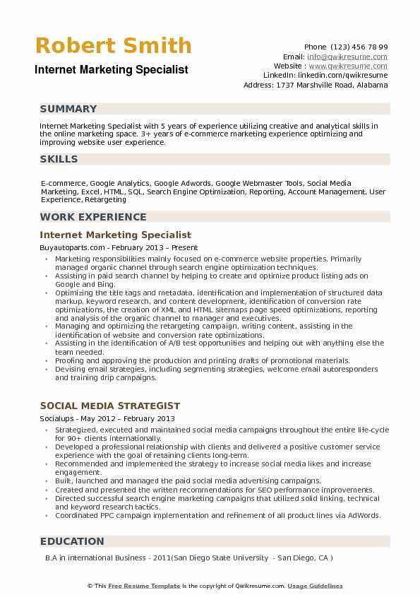 Internet Marketing Specialist Resume example