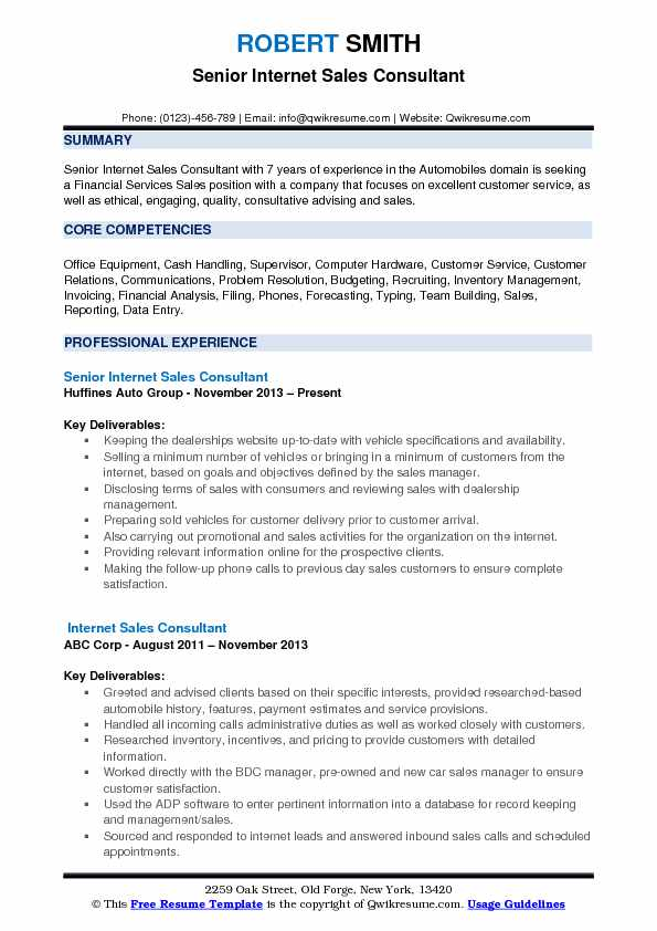 Senior Internet Sales Consultant Resume Example