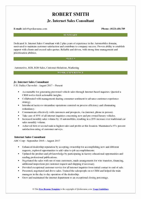 Jr. Internet Sales Consultant Resume Template