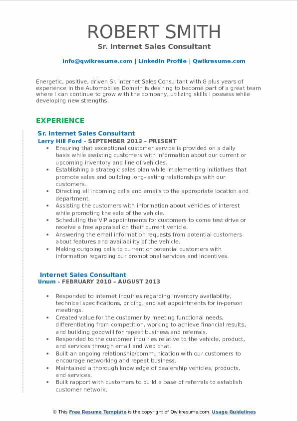 Sr. Internet Sales Consultant Resume Example