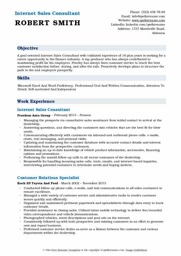Internet Sales Consultant Resume Example