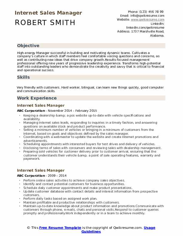 Internet Sales Manager Resume Model