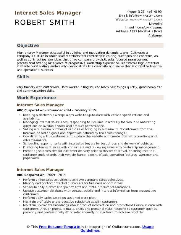 Internet Sales Manager Resume Sample