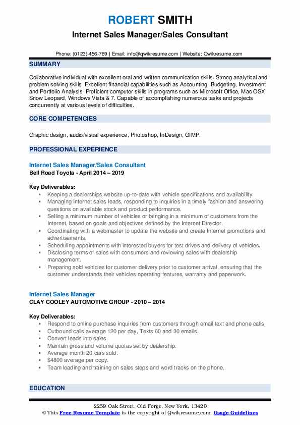 Internet Sales Manager/Sales Consultant Resume Format