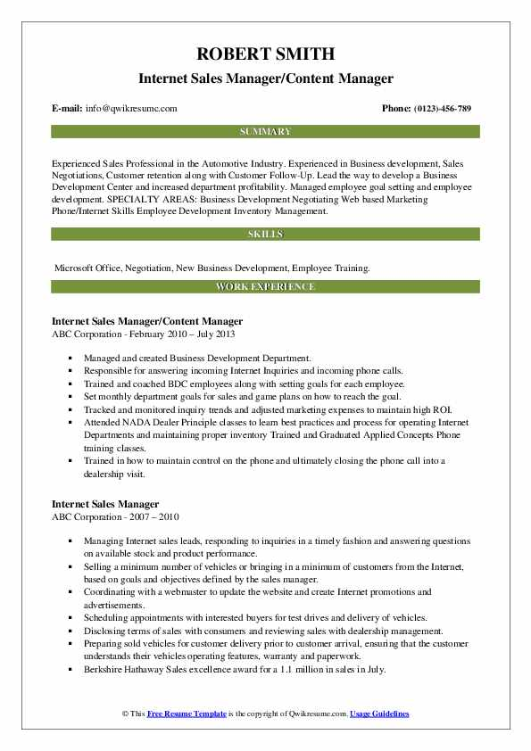 Internet Sales Manager/Content Manager Resume Sample