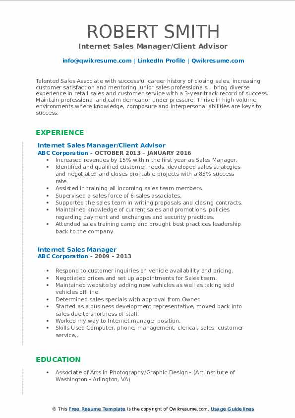 Internet Sales Manager/Client Advisor Resume Example