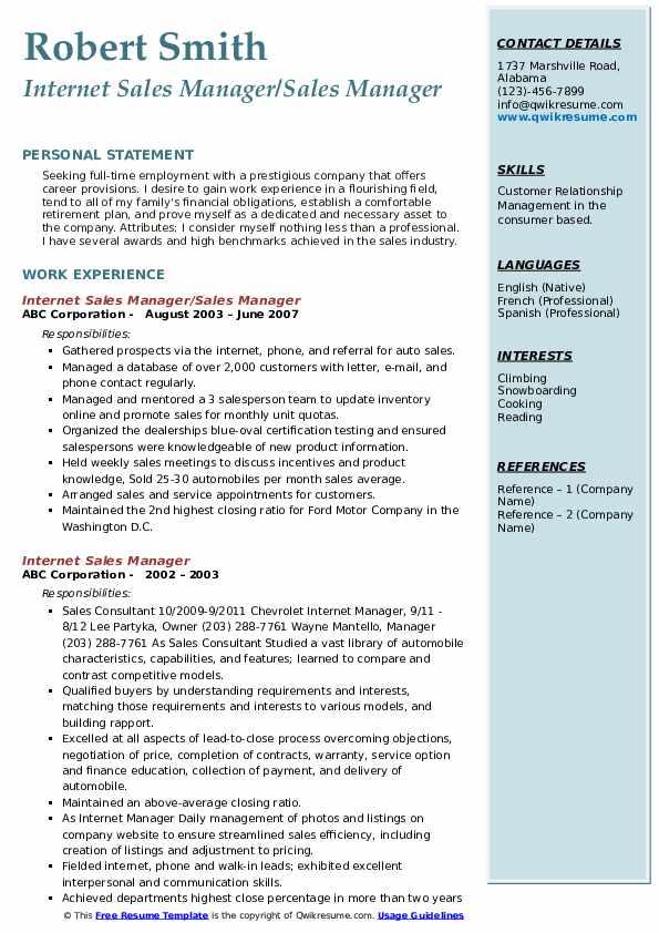 Internet Sales Manager/Sales Manager Resume Format