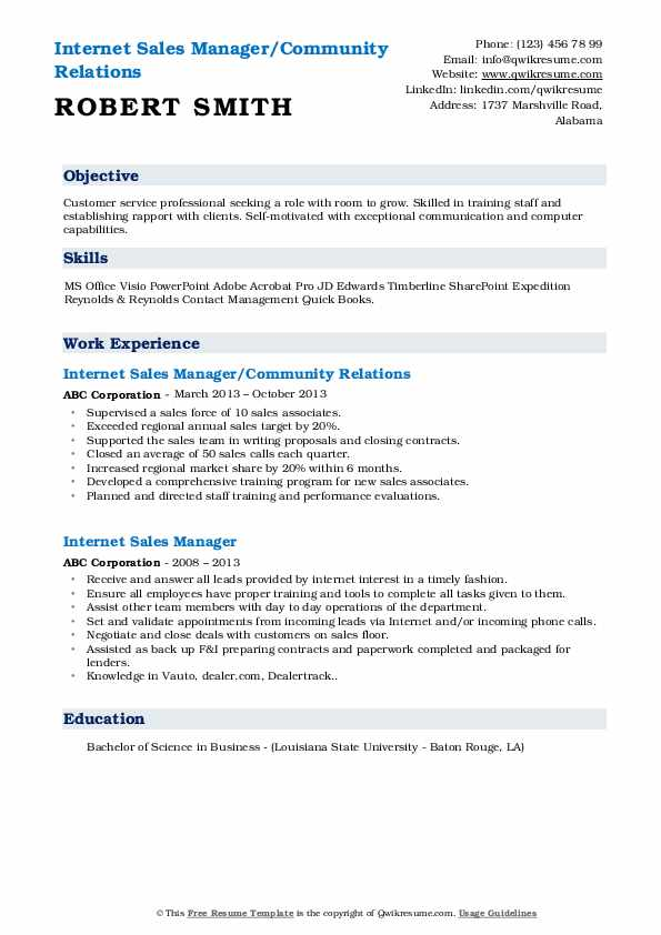 Internet Sales Manager/Community Relations Resume Example