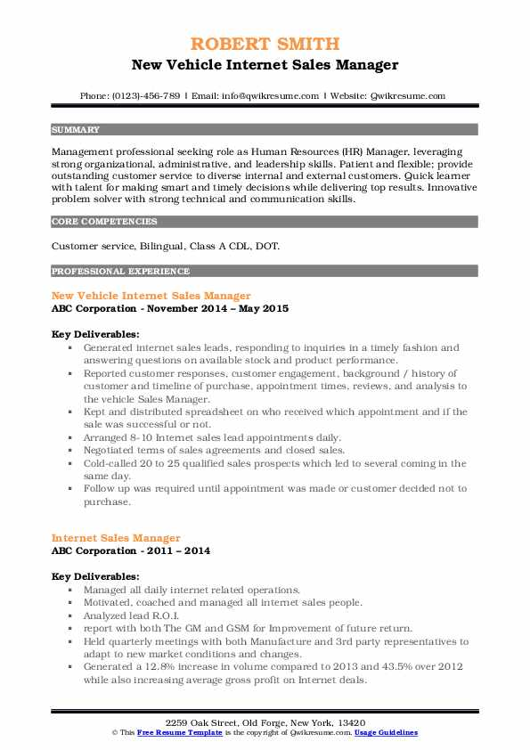 New Vehicle Internet Sales Manager Resume Example
