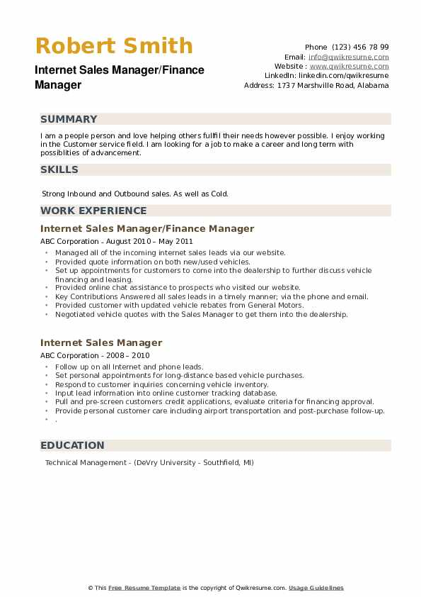 Internet Sales Manager/Finance Manager Resume Sample