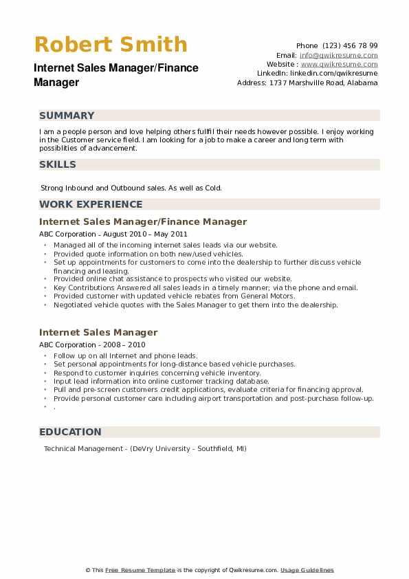 Internet Sales Manager/Finance Manager Resume Format