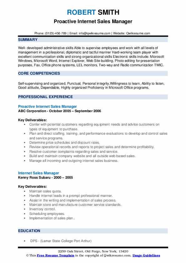 Proactive Internet Sales Manager Resume Format
