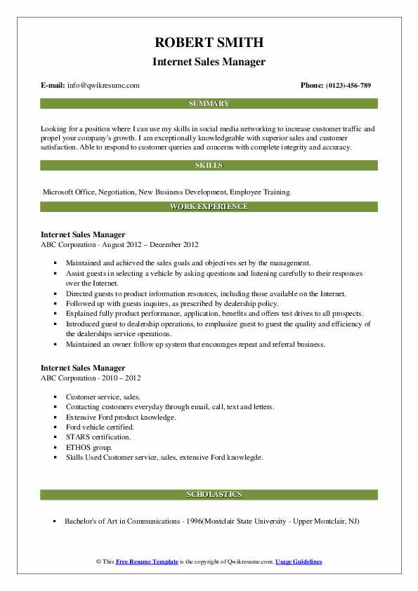 Internet Sales Manager Resume example