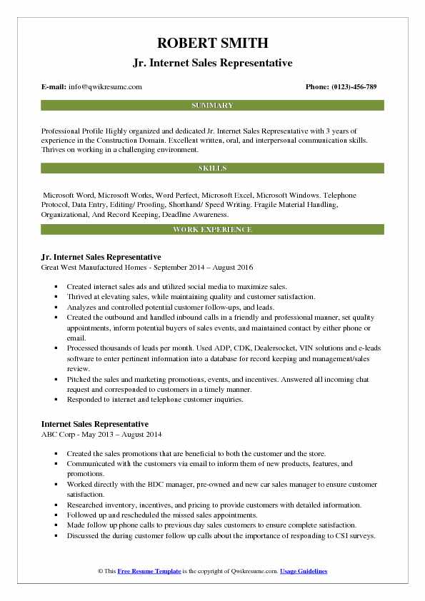 Jr. Internet Sales Representative Resume Model
