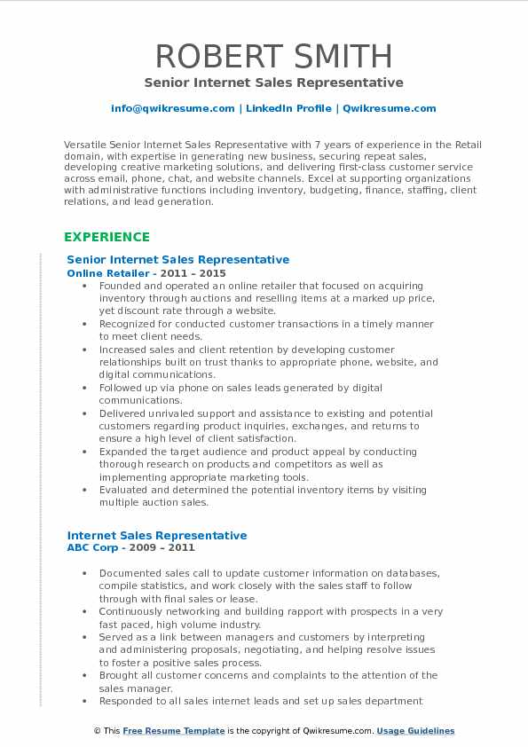 Senior Internet Sales Representative Resume Format