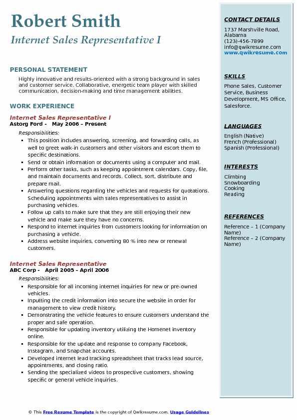 Internet Sales Representative Resume Samples | QwikResume