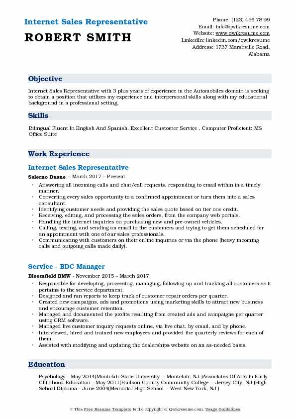 Internet Sales Representative Resume Format