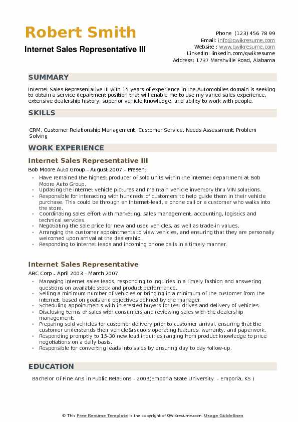 Internet Sales Representative Resume example