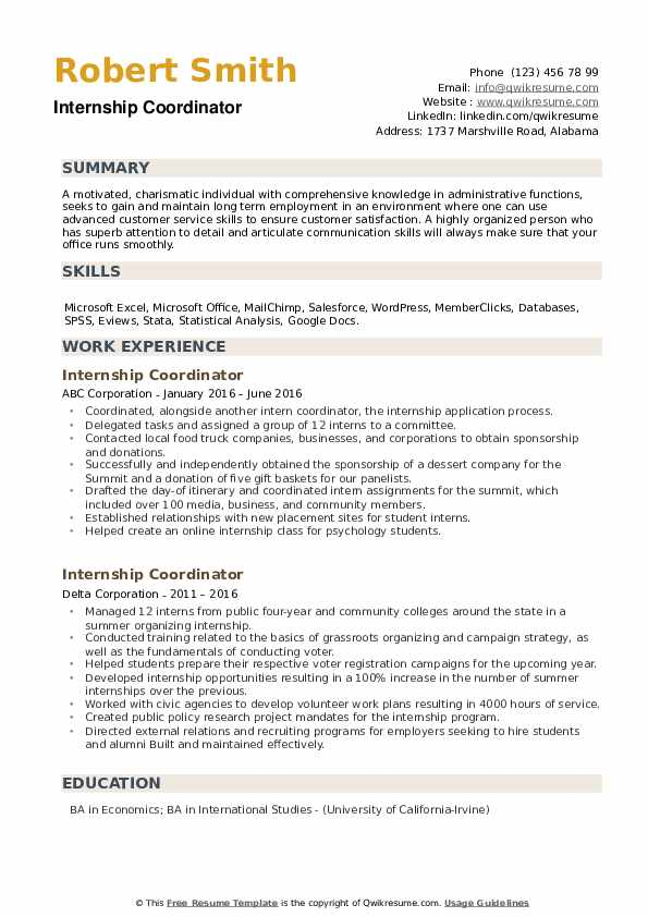 Internship Coordinator Resume example