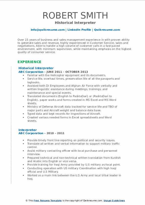 Historical Interpreter Resume Model