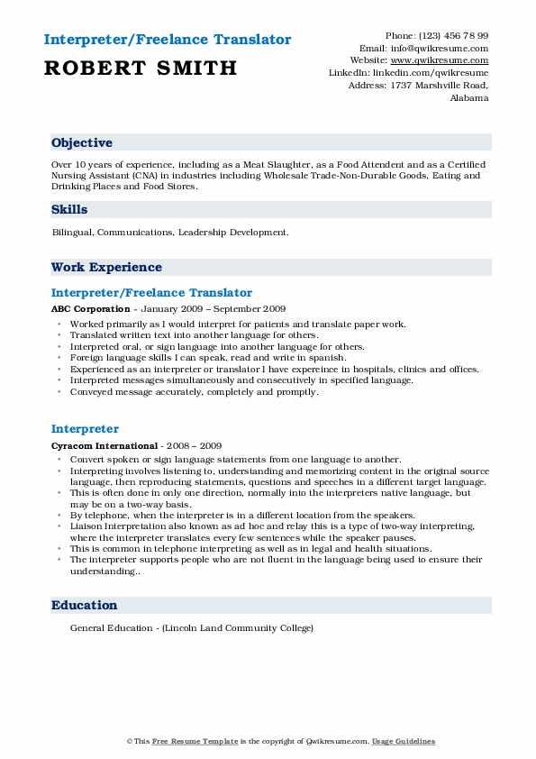 Interpreter/Freelance Translator Resume Sample