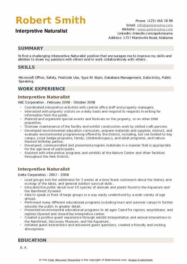 Interpretive Naturalist Resume example