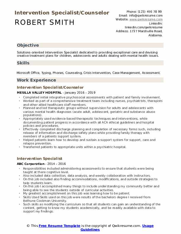 Intervention Specialist/Counselor Resume Template