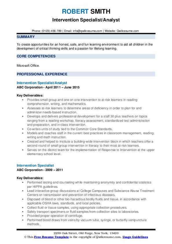 Intervention Specialist/Analyst Resume Model