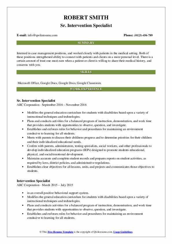 Sr. Intervention Specialist Resume Sample
