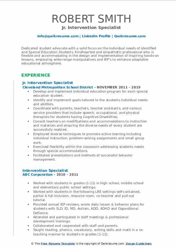 Jr. Intervention Specialist Resume Model