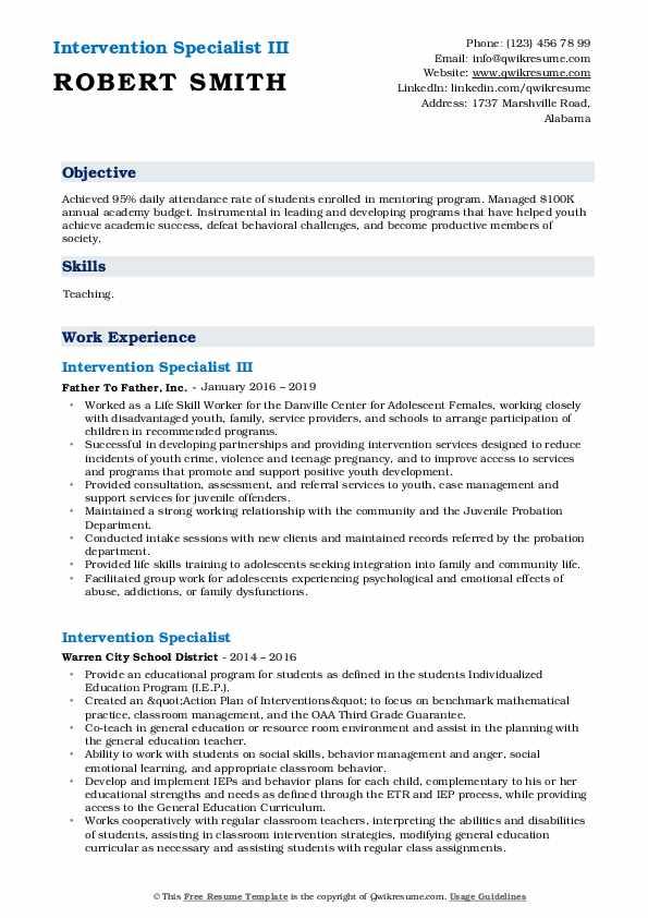 Intervention Specialist III Resume Format