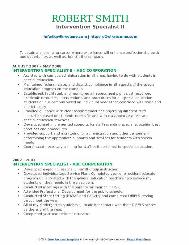 Intervention Specialist II Resume Model