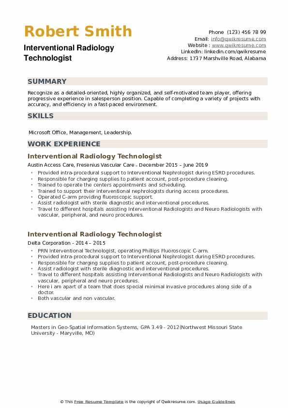 Interventional Radiology Technologist Resume example