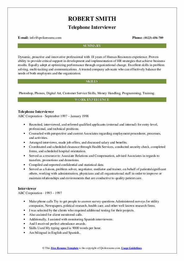Telephone Interviewer Resume Format