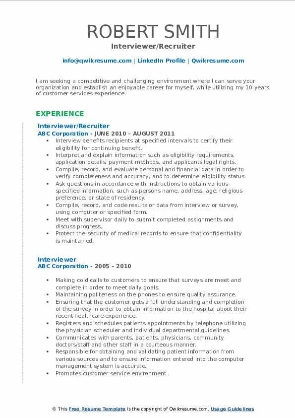 Interviewer/Recruiter Resume Format
