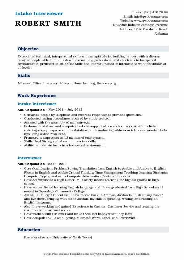 Intake Interviewer Resume Model