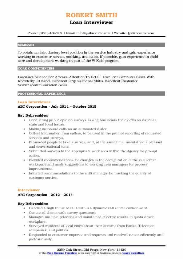 Loan Interviewer Resume Format