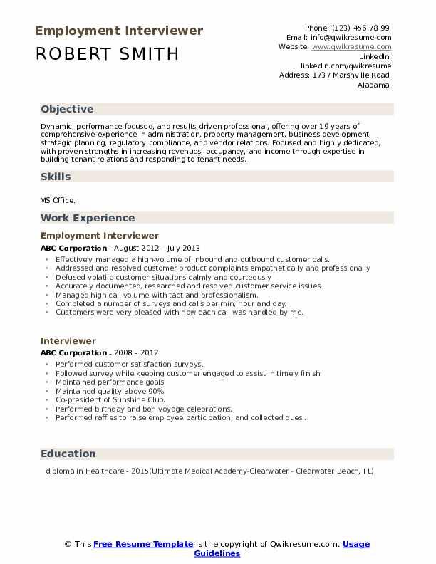 Employment Interviewer Resume Format
