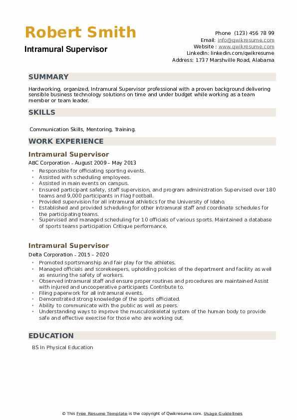 Intramural Supervisor Resume example