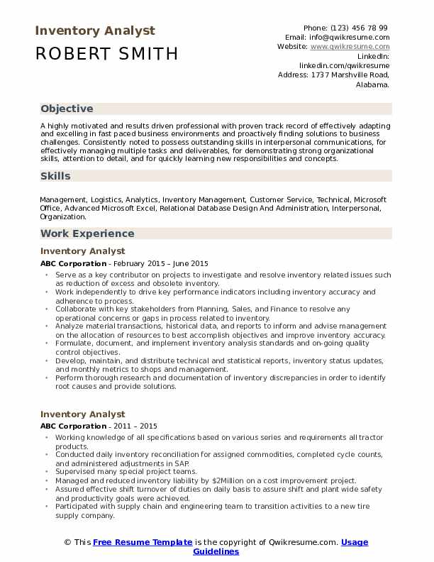 Inventory Analyst Resume Format