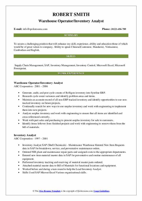 Warehouse Operator/Inventory Analyst Resume Format