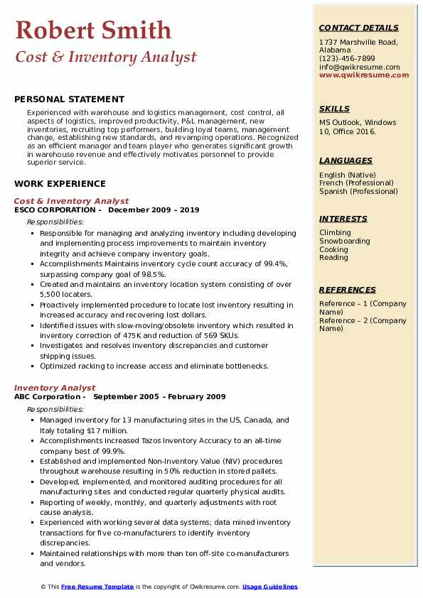 Cost & Inventory Analyst Resume Example