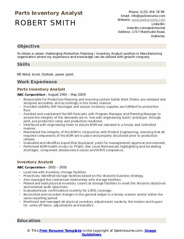 Parts Inventory Analyst Resume Template
